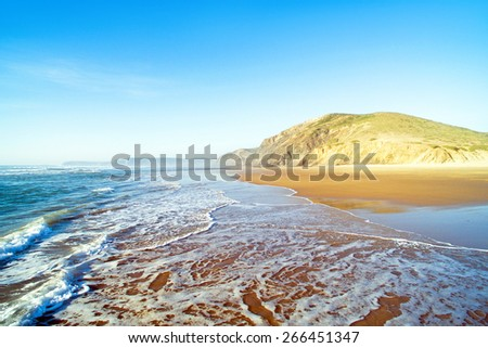 Aerial on Praia Vale Figueiras in Portugal - stock photo