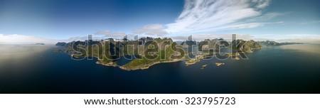 Aerial panorama of Lofoten islands in Norway, popular tourist destination - stock photo