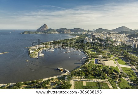 Aerial Panorama of Rio de Janeiro with Sugar Loaf Mountain, Brazil - stock photo