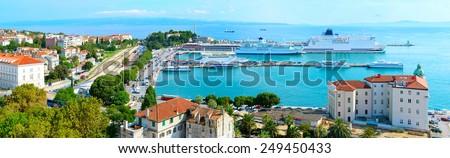 Aerial panoramic view of a port in Split, Dalmatia, Croatia - stock photo