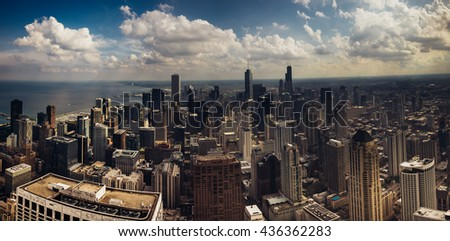 Aerial panoramic view of downtown Chicago  - stock photo