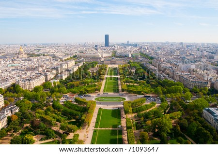 Aerial panoramic view of Paris and Seine river as seen from Eiffel Tower in Paris, France. - stock photo