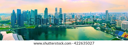 Aerial panoramic view of Singapore from Marina Bay viewpoint - stock photo