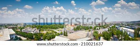 Aerial panoramic view of  the port and the rest Thessaloniki city, Greece. - stock photo