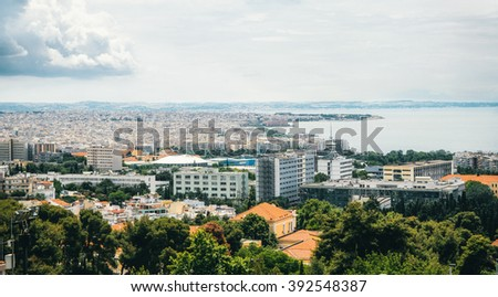 Aerial panoramic view of the Thessaloniki city and port, Greece. - stock photo