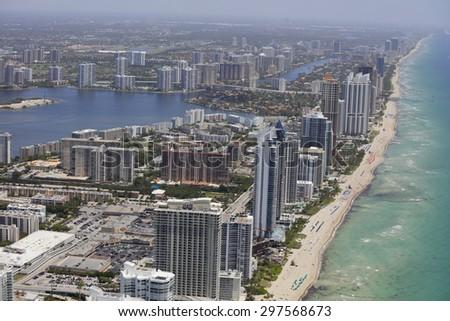 Aerial photo of Sunny Isles Beach FL - stock photo
