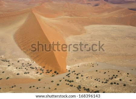 Aerial photo of the Namib-Naukluft National Park near Sossusvlei, Namibia, Southern Africa - stock photo