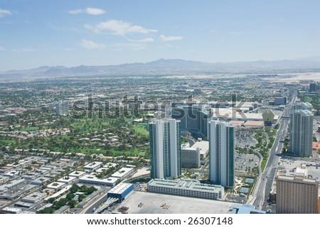 Aerial photo over Las Vegas - stock photo