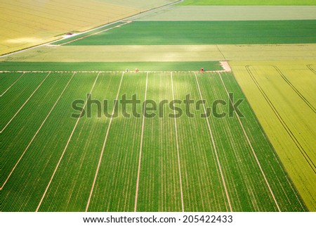 Aerial photograph area on agriculture - stock photo