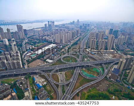 Aerial photography bird-eye view of City viaduct bridge road streetscape  - stock photo