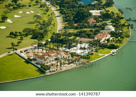 Aerial photography of generic real estate in the area of Miami, Florida. - stock photo