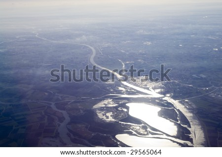 Aerial river and lakes - stock photo