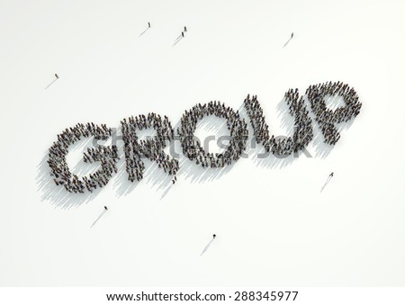 Aerial shot of a crowd of people forming the word 'Group'. Concept for how people follow each other on social networks and social media channels, websites, chat rooms and news groups. - stock photo