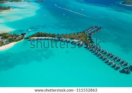 Aerial shot of bungalows in Bora bora - stock photo