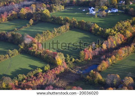 Aerial shot of Connecticut farm in fall - stock photo