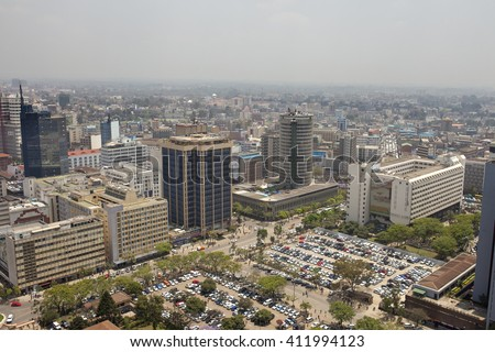 aerial shot of downtown Nairobi, Kenya and smog - stock photo