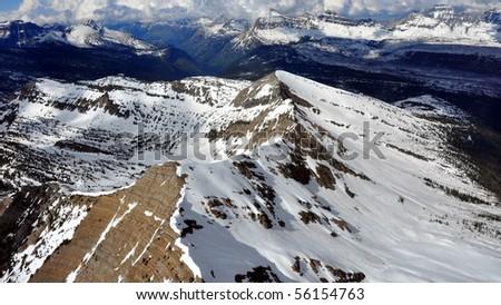 Aerial shot of Glacier National Park, Montana - stock photo