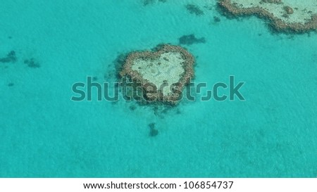Aerial shot of the Heart Reef in the Great Barrier Reef of Australia - stock photo