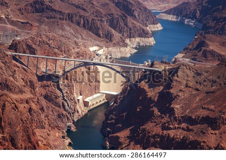 Aerial shot of the hoover dam in Arizona - stock photo