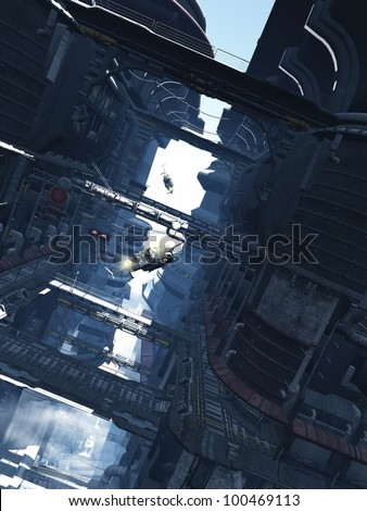 Aerial shuttlecraft chase through the tower blocks of a futuristic sci-fi city, 3d digitally rendered illustration - stock photo