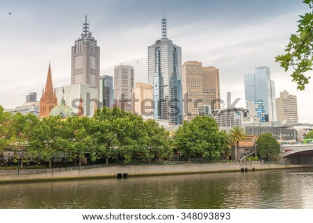 Aerial skyline of Melbourne, Australia. - stock photo