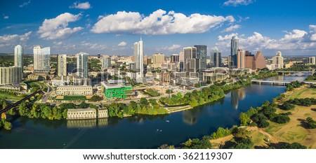 Aerial skyline shot of Austin, Texas - stock photo