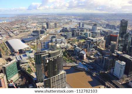 Aerial skyline view of city centre in melbourne australia with yarra river - stock photo