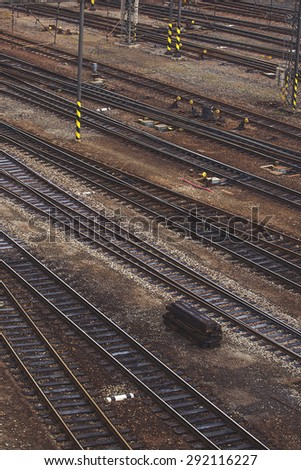 Aerial Top View of Intersecting Rails at Train Railway Station - stock photo
