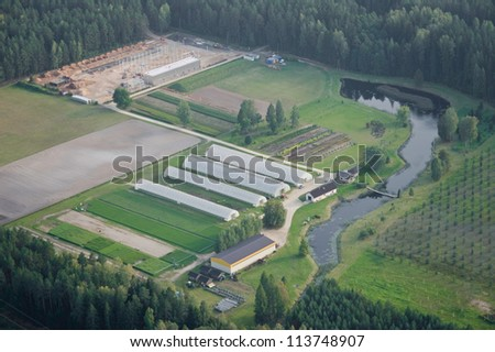 aerial vie over the industrial plant in Latvia - stock photo