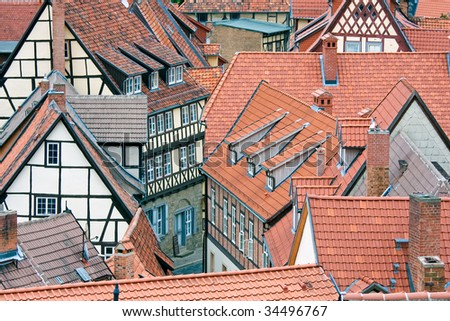 Aerial view at red roofs of medieval city Quedlinburg, Germany - stock photo