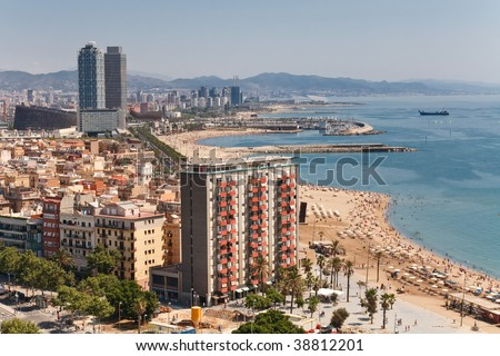 Aerial view at the beach of Barcelona, Spain. - stock photo