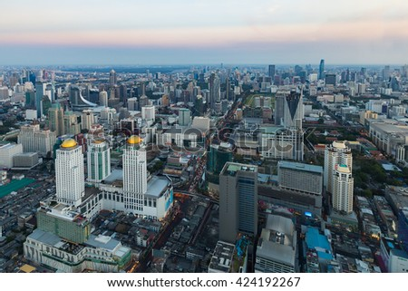 Aerial view Bangkok business area and skyline, Thailand - stock photo