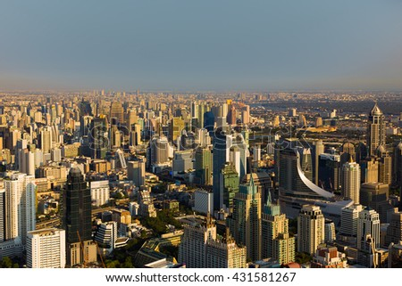 Aerial view, Bangkok central business downtown and office building, Thailand - stock photo