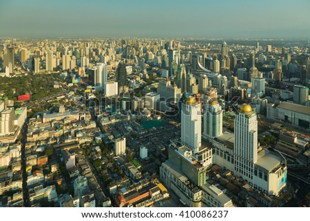 Aerial view Bangkok city business area downtown, Thailand - stock photo
