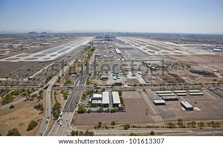 Aerial view between runways of a large metropolitan airport - stock photo