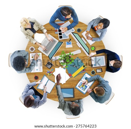 Aerial View Business Contemporary Working Meeting Casual Company Concept - stock photo