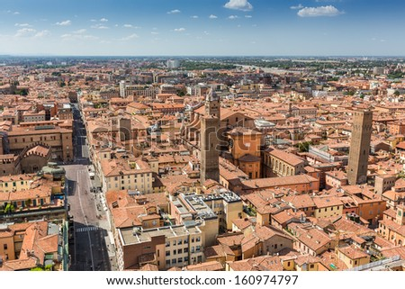 aerial view from Asinelli tower in Bologna in Italy - stock photo