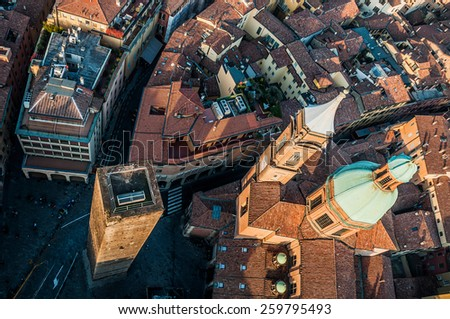 aerial view from Asinelli Tower in Bologna, Italy - stock photo