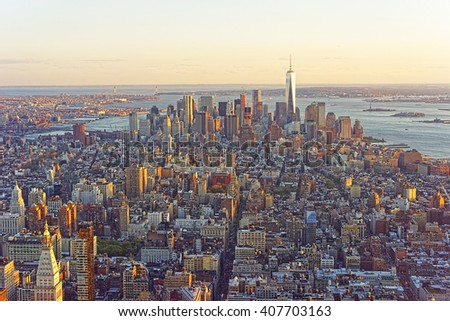 Aerial view from Observatory deck of the Empire State Building on Downtown Manhattan and Lower Manhattan New York, USA. Skyline with skyscrapers - stock photo