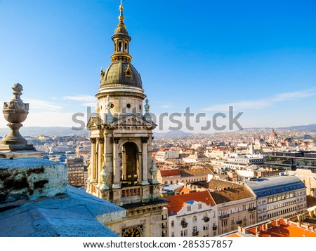 Aerial view from the St. Stephen's Basilica, Budapest, Hungary - stock photo