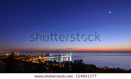 Aerial View from view point at Bang-saen harbor - stock photo