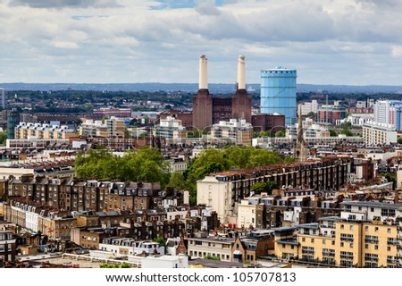 Aerial View from Westminster Cathedral on Roofs and Battersea Powerstation, London, United Kingdom - stock photo