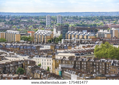 Aerial View from Westminster Cathedral on Roofs and Houses of London, UK. - stock photo