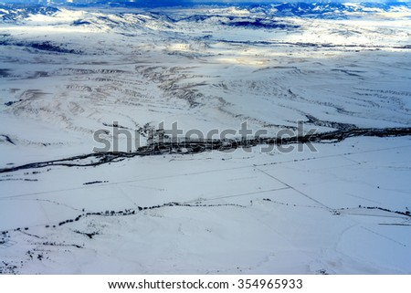 Aerial view Gallatin River west of Boseman Montana - stock photo