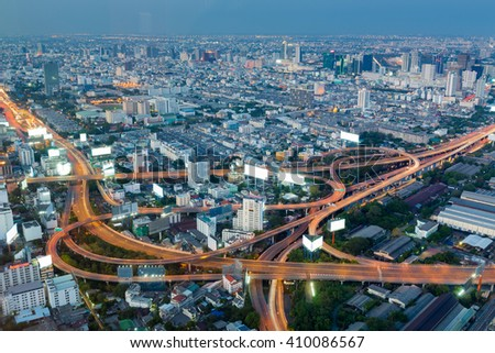 Aerial view highway interchanged night view, long exposure  - stock photo
