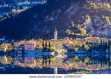 Aerial view in sunries of the village in Lake Como - Italy - stock photo