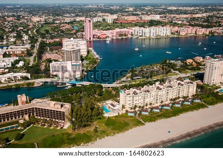 aerial view looking west over boca raton florida beach and intracoastal waterway - stock photo