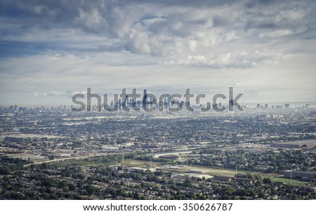 Aerial view od Chicago Downtown with suburbs - stock photo