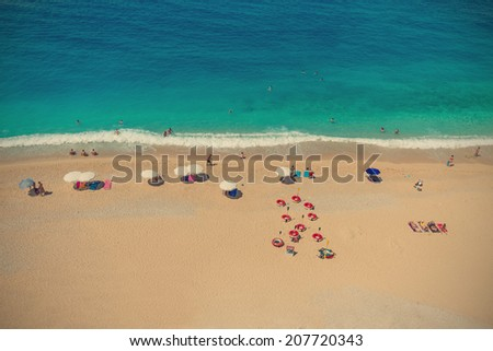 Aerial View of a Beach. Cross Processing Style - stock photo