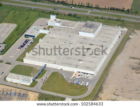 aerial view of a factory located along Highway 403 in Brantford, Ontario - stock photo